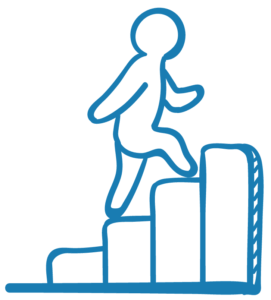 Figure climbs staircase to symbolize career advancement.